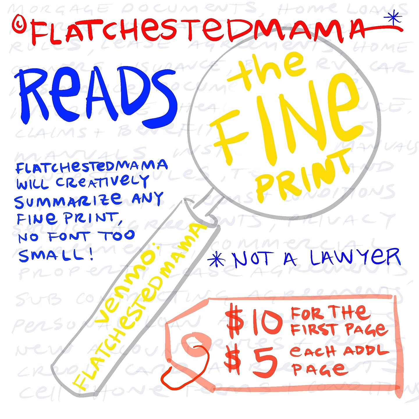 a hand drawn magnifying glass and price tag detail Flatchestedmama's new offering of reading the fine print